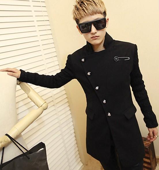 男士冬季服裝搭配黑色風衣搭配黑色墨鏡圖片