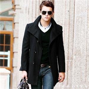 男士黑色呢子大衣搭配