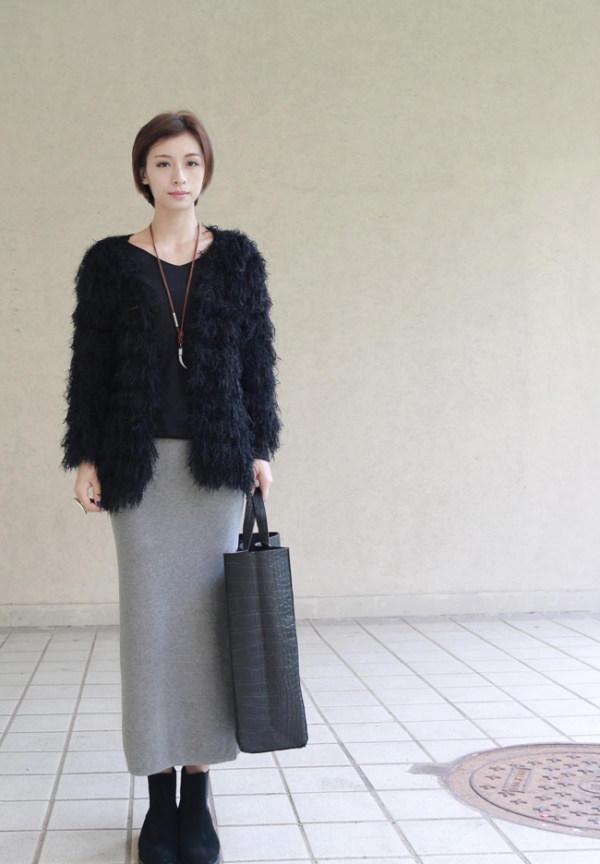 冬季黑色包臀裙搭配_冬季半身长裙搭配