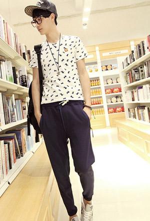 夏天男生穿衣搭配潮t -夏季男生t恤 九分裤搭配夏日新气象