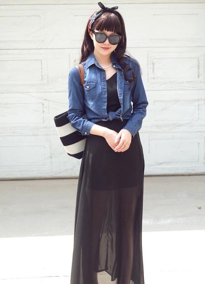 服装销售搭配:牛仔衣搭配裙子